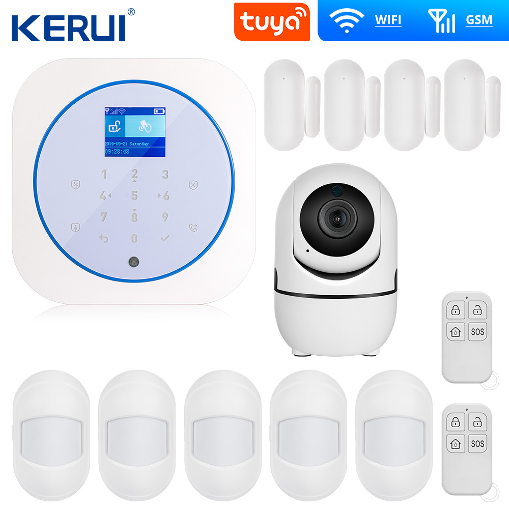 KERUI G12 Tuya App GSM WIFI Alarm System Full Touch RFID Card Panel Home Security Alarm Host Wireless APP Control
