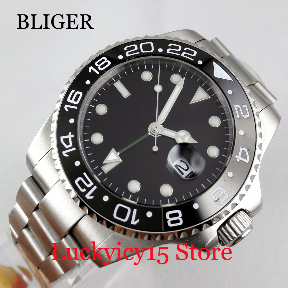 Fashion Sterile Black Dial GMT Function Stainless Steel 40mm Self Winding Men's Watch Mental Strap Auto Date