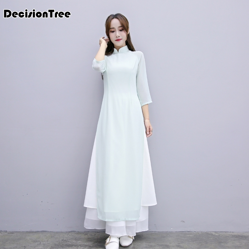 2020 Arrival Aodai Vietnam Qipao Dress For Women Traditional Clothing Ao Dai Dresses Knee Length Oriental Dress For Women