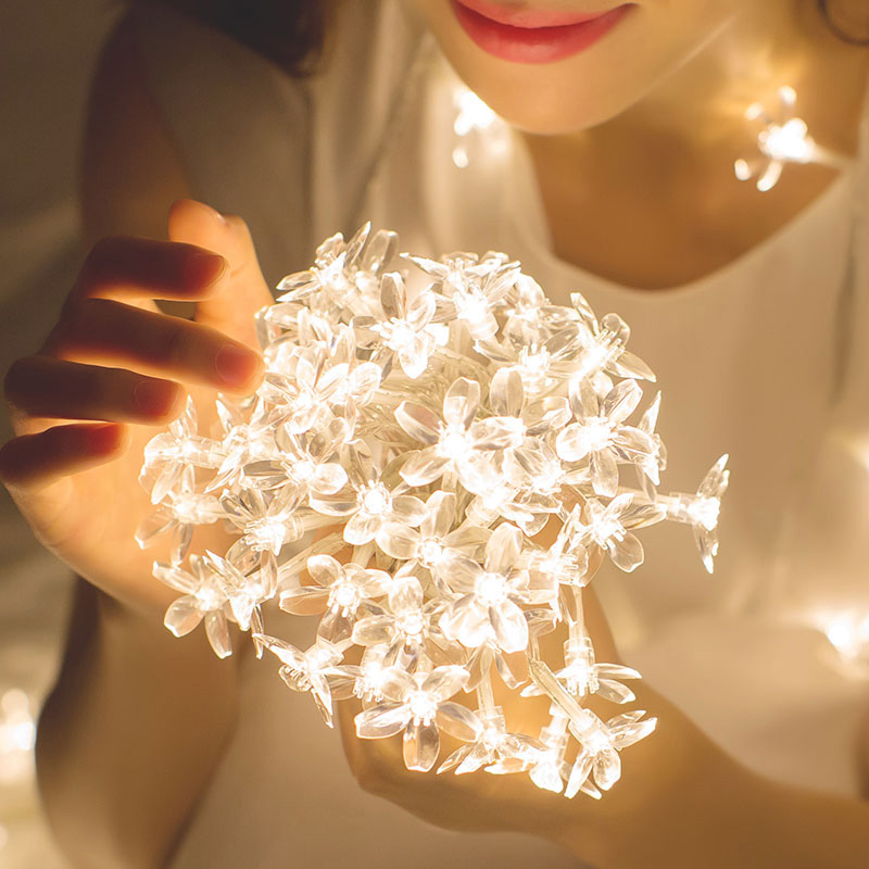 Cherry Blossom Flower Garland Lamp Battery/USB Operated LED String Fairy Lights Crystal Flowers Indoor Wedding Christmas Decors