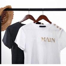 100% Cotton Women Summer Tshirt Letter T-Shirt Short Sleeve Paris Tee Tops Casua