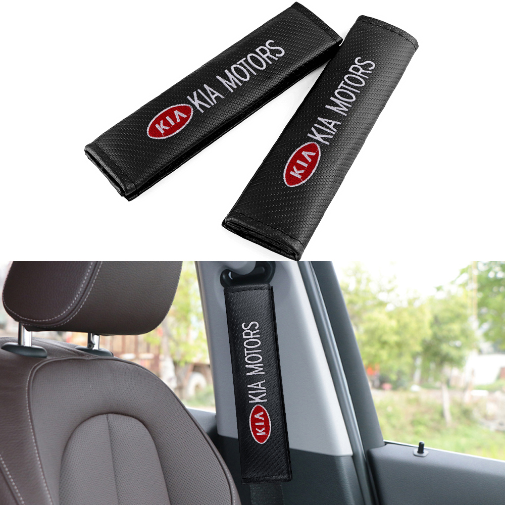 2PCS Car Carbon Fiber Seat Belt Covers Shoulder Protector Cushion for Kia Ceed 2019 Rio 3 4 Sorento Cerato Picanto Sportage Soul