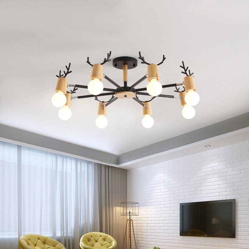 Macaron Chandelier Nordic Modern Contracted Solid Wood Deer Head Chandelier Living Room Bedroom Creative Personality Home Light
