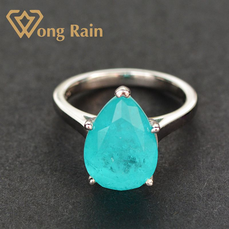Wong Rain 100% 925 Sterling Silver Pear Paraiba Tourmaline Gemstone Birthstone Wedding Engagement Ring Fine Jewelry Wholesale