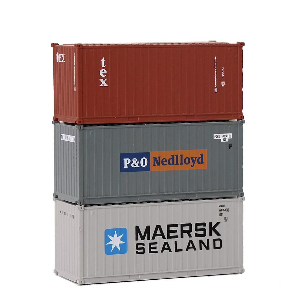 Image 5 - Mixed 3pcs Different 20ft Shipping Container Freight Cars N Scale C15007 1:150 20 Foot Container Model Railway LayoutModel Building Kits   -