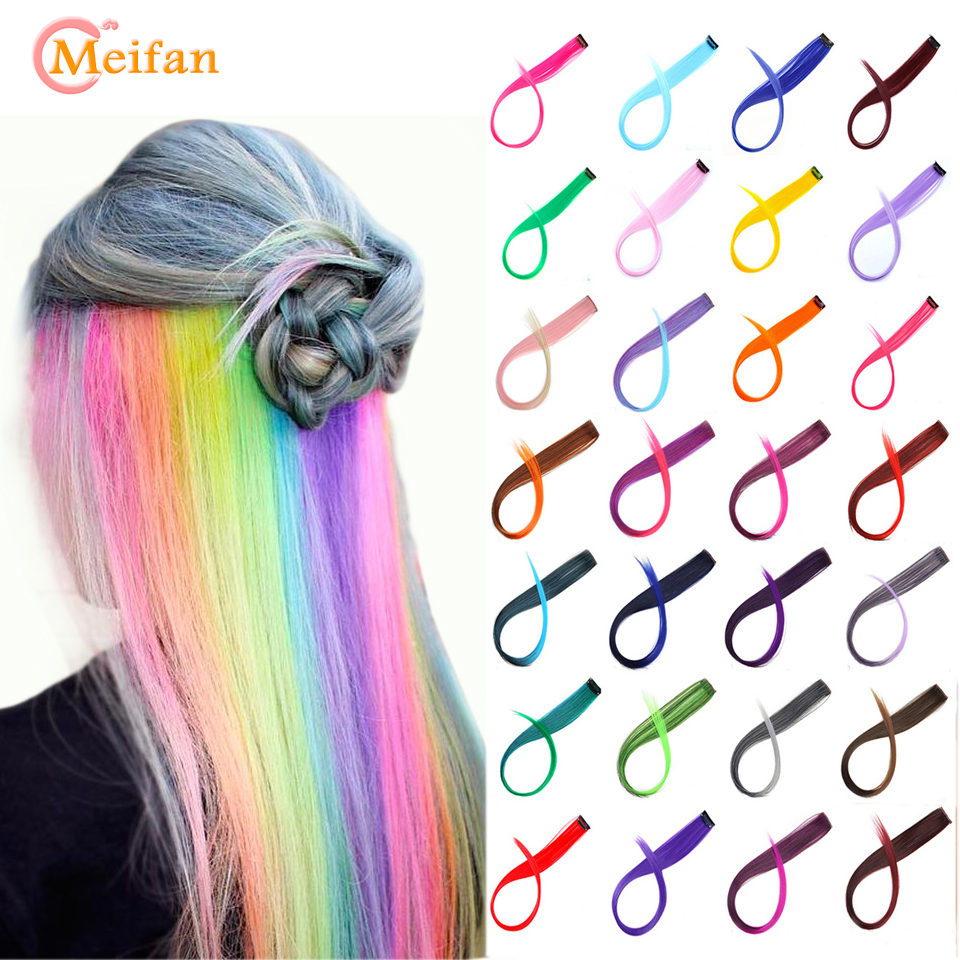 MEIFAN Single Clip 20 Inch Ombre Colored Long Straight Hair Strands Clip in One Piece Hair Extensions Color Fake Hairpieces