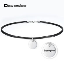 Mens Womens ID Necklace 4mm Leather Personalized Name Pendant Necklace For Men Stainless Steel Circle Charm Adjustable LDN155(China)