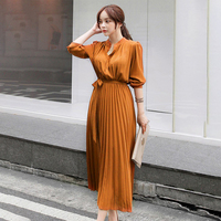 Autumn Pleated Sexy Bodycon Dress Winter Long Dress Women Vintage Chiffon Long Sleeve Party Dress Casual Vestidos Woman Clothing