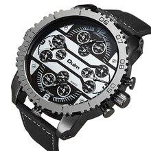 OULM Relógio de Quartzo Esportes Dos Homens Grande Caso Militar Mens Relógios Top Marca de Luxo de Couro Strap 4 Fuso Horário Moda Casual relógio de pulso