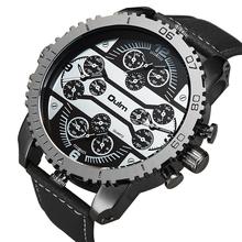 OULM sport zegarek kwarcowy mężczyźni Big Case wojskowe męskie zegarki Top marka luksusowy skórzany pasek 4 strefa czasowa moda zegarek na co dzień tanie tanio 26cm Moda casual QUARTZ NONE 3Bar Klamra CN (pochodzenie) STAINLESS STEEL 14mm Hardlex Kwarcowe Zegarki Na Rękę Papier