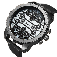 Oulmスポーツクォーツ時計男性ビッグケース軍事メンズ腕時計トップブランドの高級レザーストラップ 4 タイムゾーンファッションカジュアル腕時計