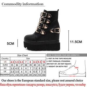 Image 5 - Gdgydh 2020 秋の女性のアンクルブーツラウンドトウゴールド金属バックルショートブーツを増加ハイヒールプラットフォーム女性のブーツの靴