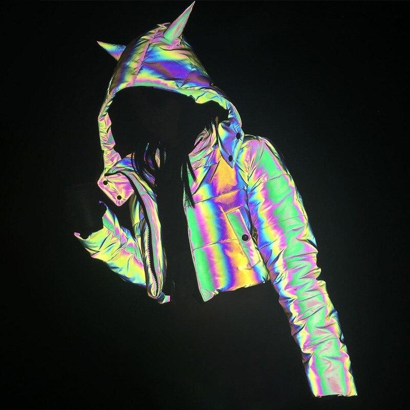 Съемная зимняя короткая Светоотражающая куртка женская светящаяся Повседневная куртка Толстая свободная светящаяся парка Хип Поп толстов...