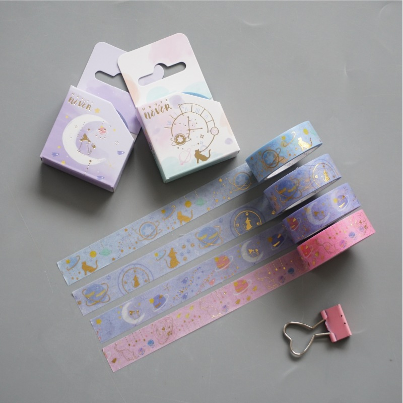 1.5cm Clock Moon Cat Planet Gilding Bullet Journal Washi Tape Adhesive Tape DIY Scrapbooking Sticker Label Masking Tape