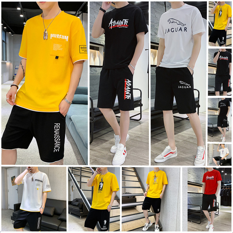 MEN'S Suit New Style Short Sleeve Set Male STUDENT'S Large Size Loose-Fit T-shirt Shorts Two-Piece Set Korean-style Sports Men'S
