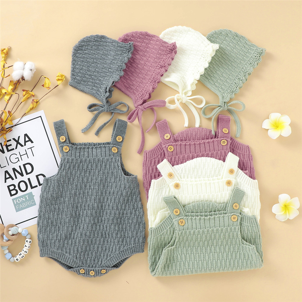 FOCUSNORM 4 Colors Baby Girls Boys Knit Sweater Rompers Hats 2pcs Solid Ruffles Sleeveless Warm Jumpsuits