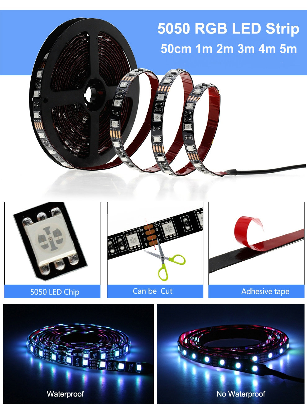 Had4f35b2ae4e402caf1d3fa42106ae57E USB LED Strip RGB Changeable LED TV Background Lighting 50CM 1M 2M 3M 4M 5M DIY 5V Flexible LED Light Tape RGB LED Strip 5050.