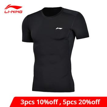 Li-ning mężczyźni szkolenia profesjonalna koszulka warstwa Slim Fit szybkie suche oddychająca podszewka Li Ning koszulka sportowa topy AUDN015 MTS2712 tanie i dobre opinie LINING Pasuje prawda na wymiar weź swój normalny rozmiar