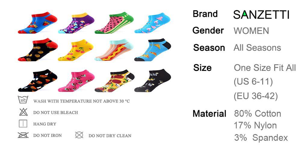 Image 5 - SANZETTI 12 Pairs/Lot Summer Women Casual Novelty Colorful Combed Cotton Ankle Socks Harajuku Happy Short Socks Plaid Tend SocksSocks   -