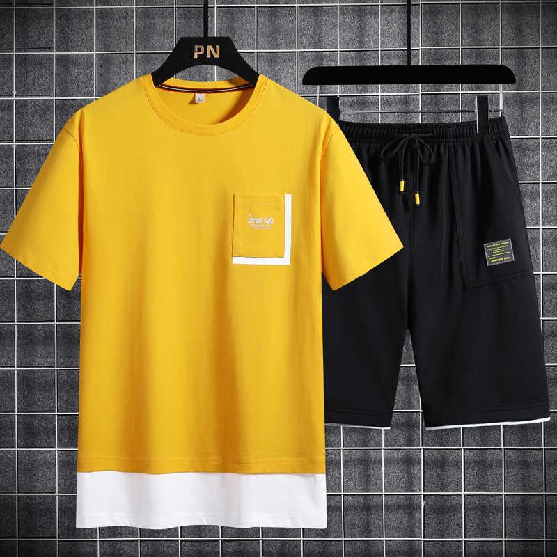 Fresco di Seta del ghiaccio Vestiti asciugatura rapida Nuovo 2pc Tuta Breve Felpa + Shorts Set Beach Mens Casual Camicette abbigliamento sportivo