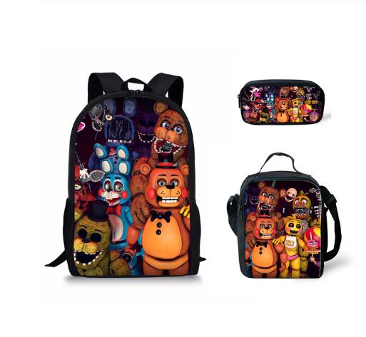 Children Primary School Bags For Teenagers Five Nights At Freddys Pattern Book Bags Kids 3pcs/set Schoolbags Satchel