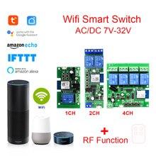 Tuya חכם שלט רחוק אלחוטי Wifi מתג מודול 1/2/4CH DC 7 32V 5V 12v 24v RF מקלט 10A wifi ממסר עבור Alexa DIY