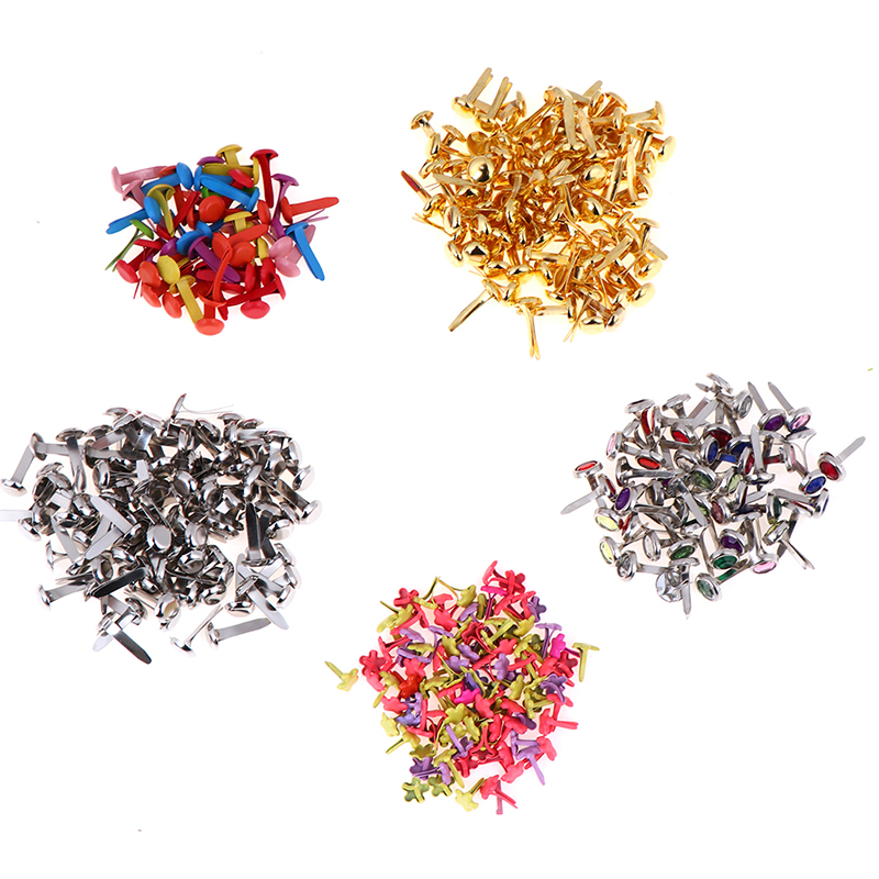 50//100pcs Lots Metal Brads Scrapbook Paper Fastener F Decorative Brad