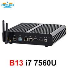 Ordinateur de bureau Intel core i7 gen 7th 7560U Mini PC Windows 10 HDMI DP 4K HTPC avec Micro PC 4k HD