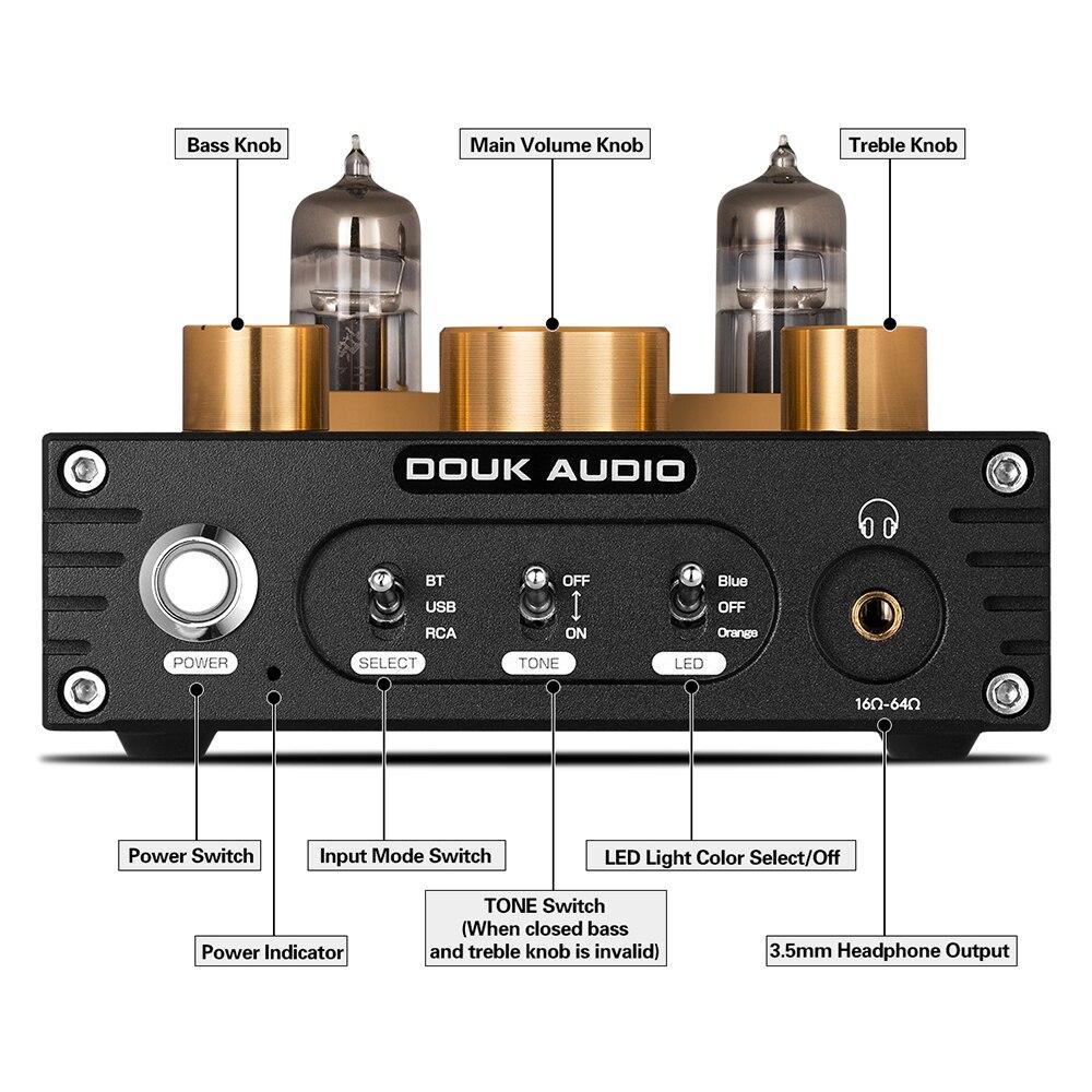 Nobsound HiFi Bluetooth 5.0 6J5 Valve Tube Preamp Bass Preamplifier Stereo Audio Headphone Amplifier USB DAC APTX - 2