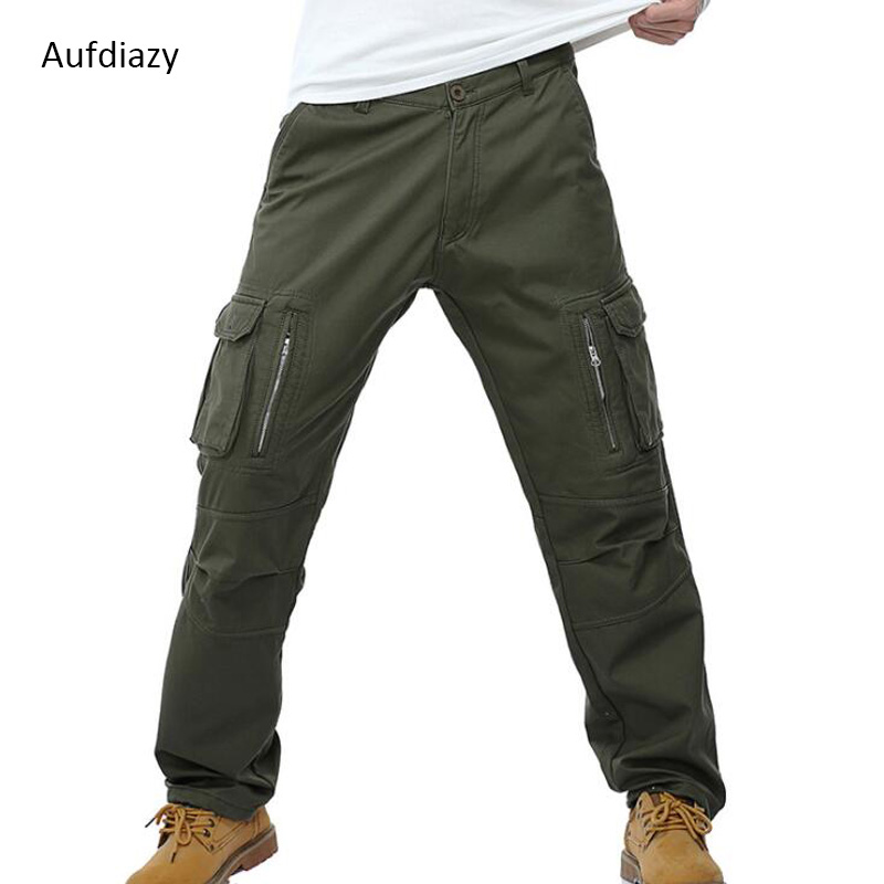 Aufdiazy Men's Tactical Trousers Winter Thick Warm Zipper Outerwear Solid Waterproof Windproof Military Male Sports Pants JM126