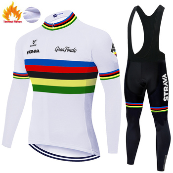 STRAVA-maillot térmico de lana para ciclismo, conjunto de invierno para hombre, 2020