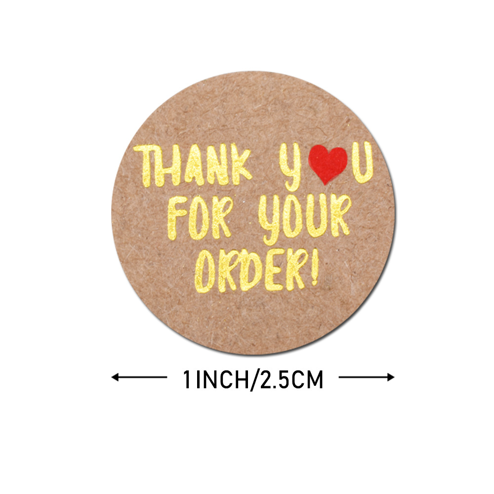 500pcs/roll Round Gold Foil Thank You For Your Order Stickers 1 inch Wedding Pretty Gift Cards Envelope Sealing Label Stickers 6