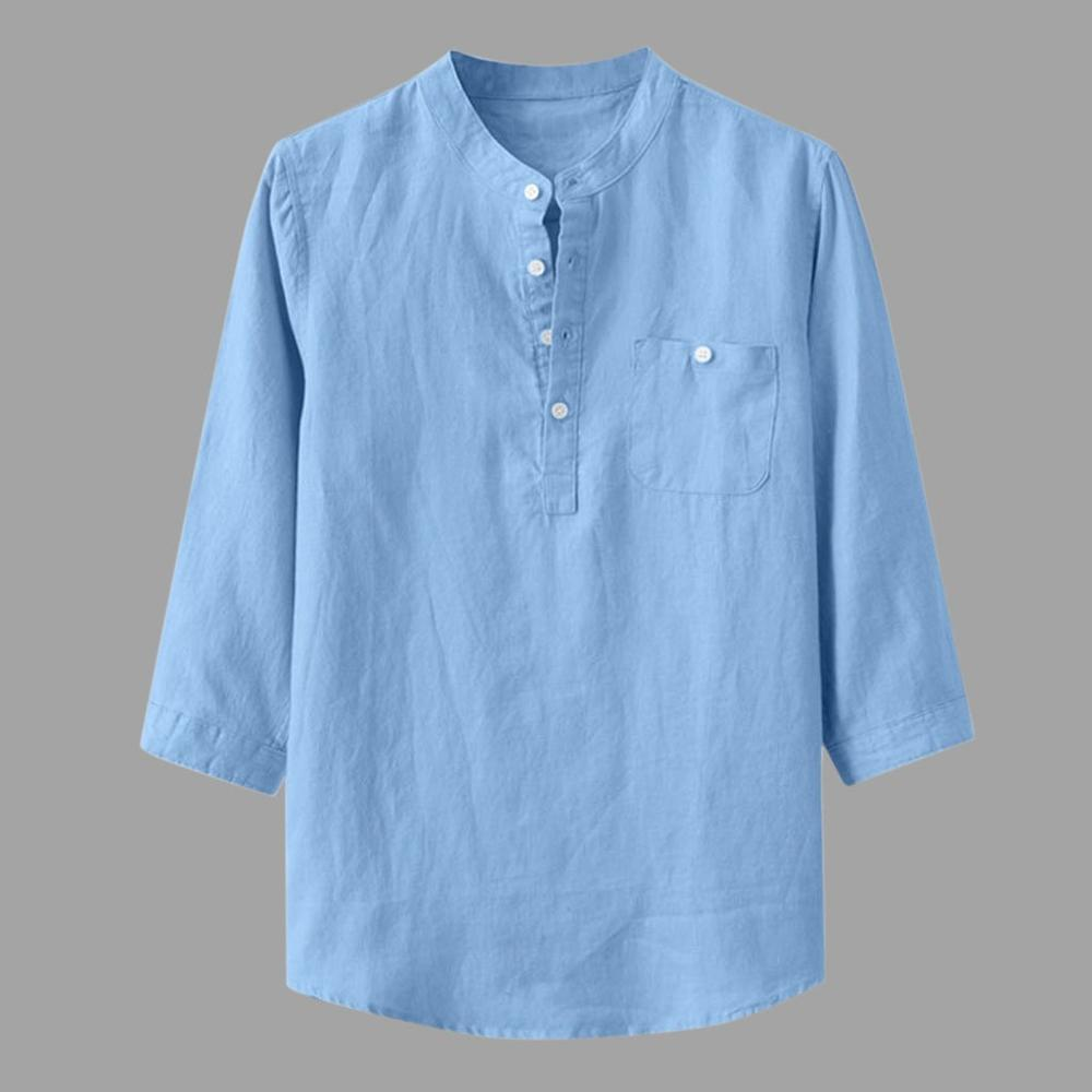 2020 Men's Loose Cotton And Linen Solid Collar Shirt