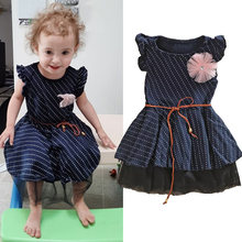 Sommer Mädchen Reine Baumwolle Navy Blau Polka Dot Gaze Kleid Kinder Blume Prinzessin Denim Kleid Casual Party Sommerkleid 2-10T(China)