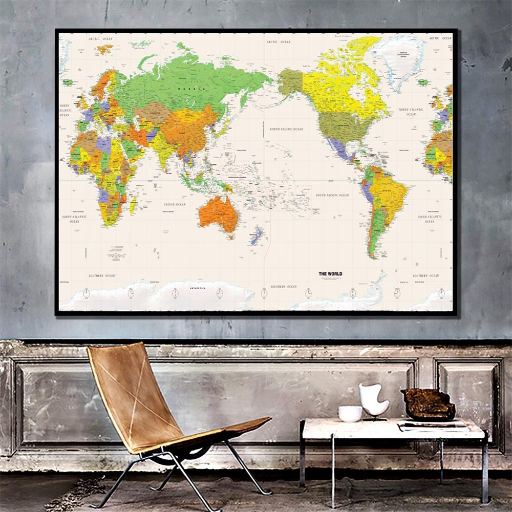 A2 Size HD Printed The World Physical Map Fine Canvas Unframed Painting For Home Office Wall Decor
