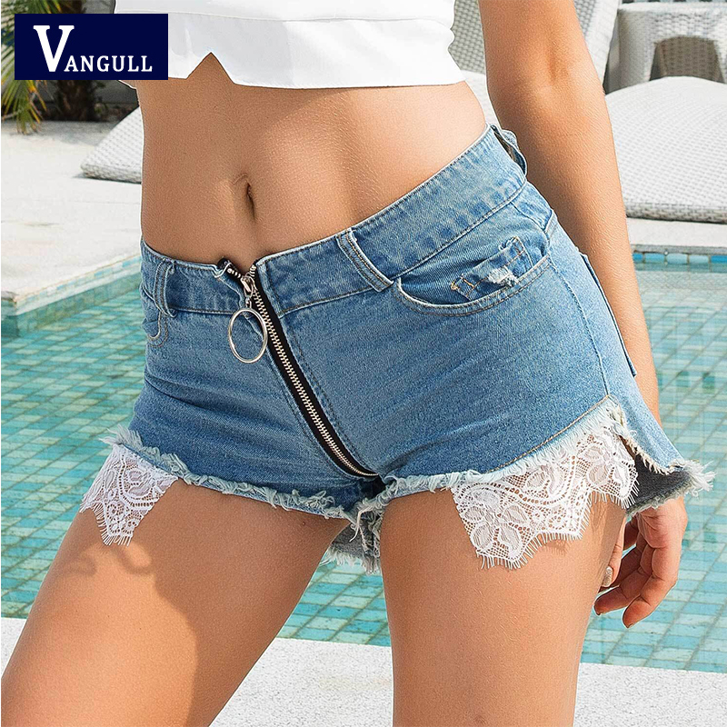 Vangull Western Style Sexy Denim Hot Shorts Women Club Style 2020 Summer New High Waist Shorts Chic Lace Zipper Frayed Shorts