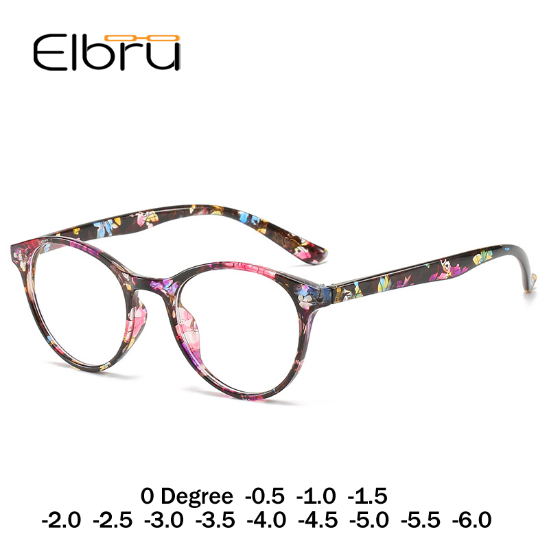 Elbru Finished Myopia Glasses Women 0 -0.5 1.0 1.5 2.0 2.5 3 3.5 4 4.5 5.0 5.5 6 Retro Floral Print Myopia Optical Glasses Frame