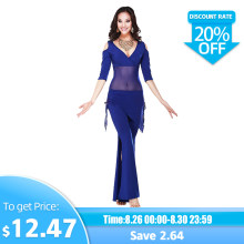 Hot Sale New Haft-sleeved V-neck belly dance set Milk Silk Belly Dance Costumes women for dancer's clothing Top&Pants(China)