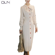 Autumn dress OLN Korean vestidos new arrival wholesale Winter 2019French retro temperament waist over knit