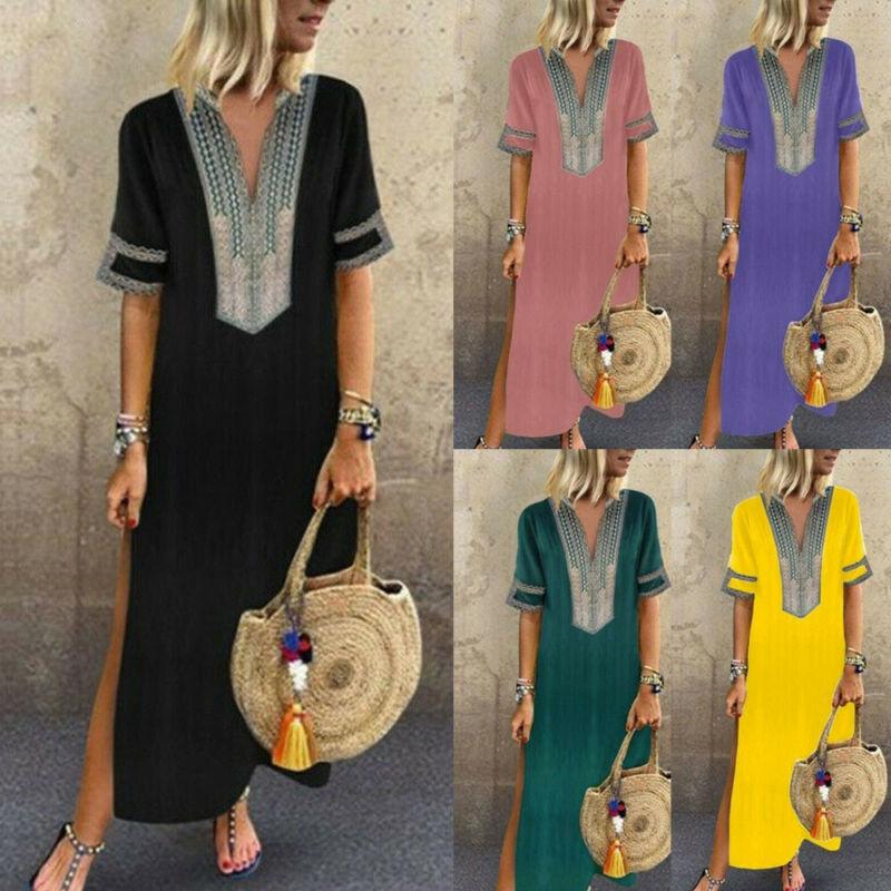 Women Long Kaftan Dress Boho Maxi Caftan Tunic Casual Beach Sundress Plus Size