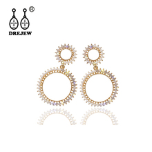 DREJEW Big Gold Rhinestone Circle Statement Earrings 2019 925 Pearl Alloy Drop Sets for Women Wedding Jewelry HE7001