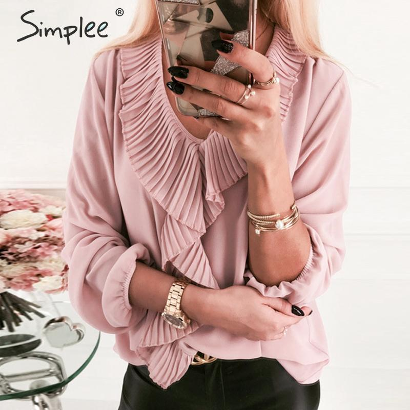 Simplee Women Ruffle Blouse Shirt Streetwear Solid Puff Sleeve Casual Blouse Sexy V-neck Office Lady Pink Stylish Autumn Shirt