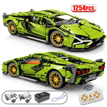 1254 adet şehir MOC RC/olmayan-RC süper spor araba uzaktan kumanda yarış arabası teknik araç yapı taşları tuğla oyuncaklar çocuklar için