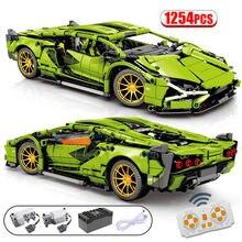 1254 pces cidade moc rc/não-rc super esportes carro de controle remoto de corrida de alta tecnologia veículo blocos de construção tijolos brinquedos para crianças