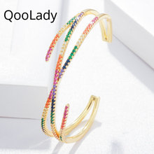 QooLady Fashion Brand Women Jewelry Yellow Gold Color Adjustable Multicolored Cubic Zirconia Big Wide Cross Cuff Bangle K004