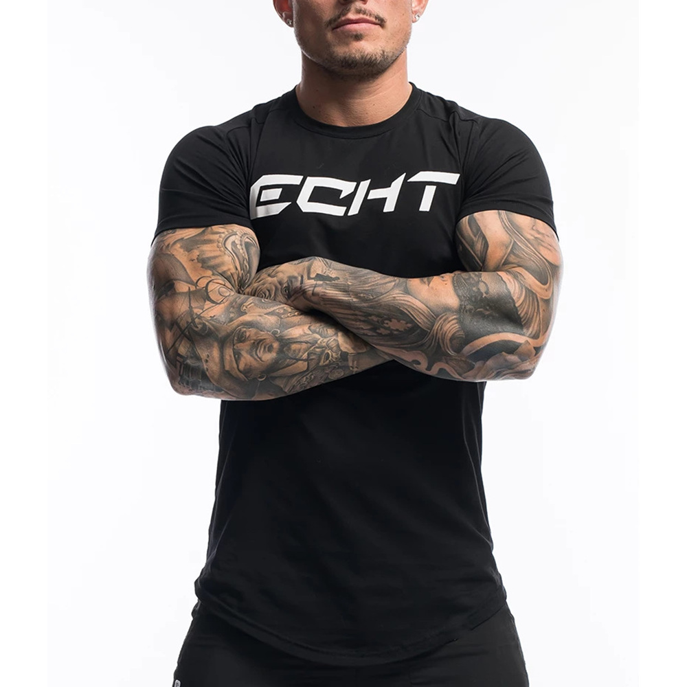 Casual Cotton Print T-shirt Men Gyms Fitness Short Sleeve Tshirt Male  Bodybuilding Workout Skinny Tee Shirt Tops Summer Clothes