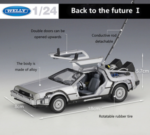 Image 2 - Welly 1:24 Diecast Alloy Model Car DMC 12 delorean back to the future Time Machine Metal Toy Car For Kid Toy Gift Collection