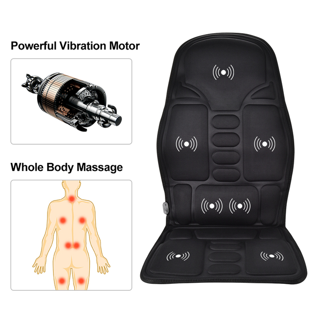 Electric Heating Full Body Massage Car Chair Office Massage Lumbar Neck Pain Relief 7pcs Powerful Motors Vibration Stimulating 2
