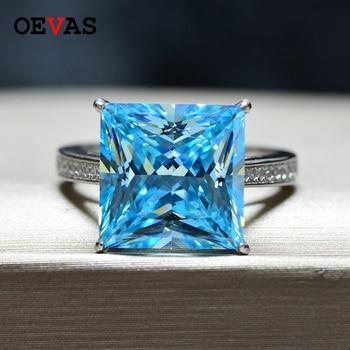 OEVAS 15.5 캐럿 여성을위한 높은 탄소 다이아몬드 반지 100% 925 스털링 실버 12*12mm 만든 Moissanite 웨딩 파인 쥬얼리