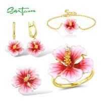 SANTUZZA Jewelry Set For Women 925 Sterling Silver Pink Enamel Flower Pendant Earrings Ring Bracelet Set Trendy Fine Jewelry